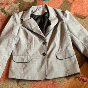 Old navy gray glen plaid blazer. With satin trim